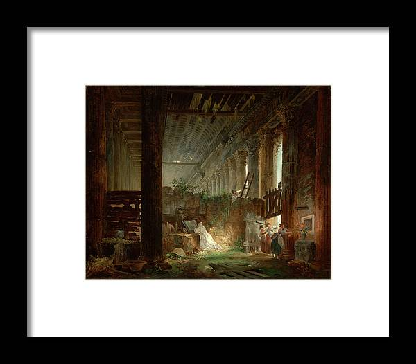 Hubert Robert (french Framed Print featuring the painting A Hermit Praying In The Ruins Of A Roman Temple by Hubert Robert
