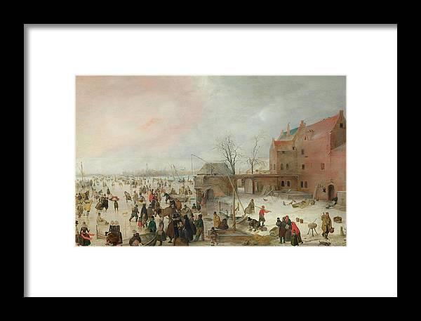 Scenery Framed Print featuring the painting A Scene On The Ice Near A Town by Hendrick Avercamp