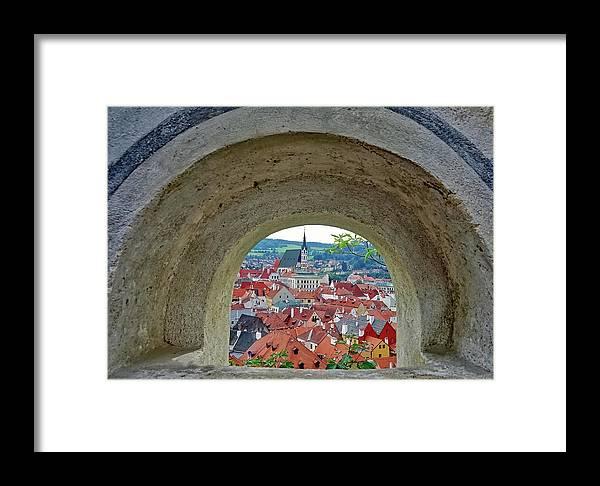 Cesky Krumlov Framed Print featuring the photograph A View Of Cesky Krumlov In The Czech Republic by Richard Rosenshein