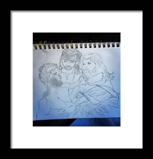 Creation Framed Print featuring the drawing Adam andEve The Creation Story by Love Art Wonders By God