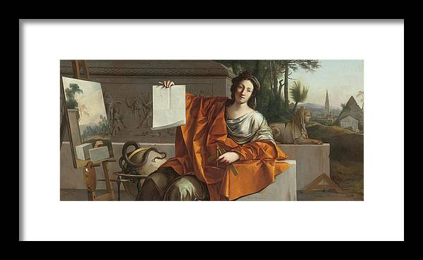 Laurent De La Hyre (french Framed Print featuring the painting Allegory Of Geometry by MotionAge Designs