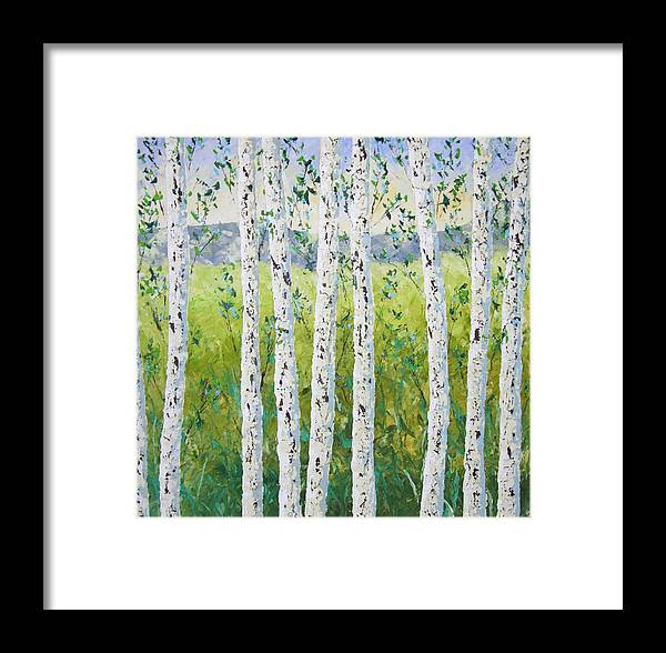 Colorado Framed Print featuring the painting Aspen Trees Colorado by Frederic Payet