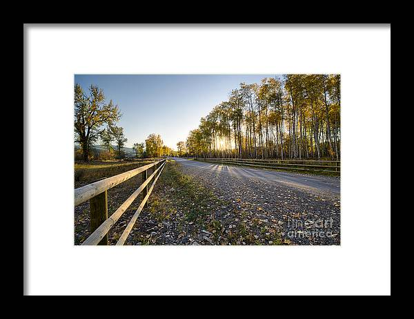 Deer Lodge Framed Print featuring the photograph Autumn Road by Idaho Scenic Images Linda Lantzy