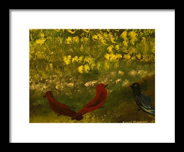 Birds Framed Print featuring the painting 3 Birds by Keyon McGruder