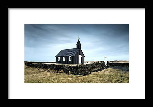 Budir Church Framed Print featuring the photograph Black Church Of Budir, Iceland by Michalakis Ppalis