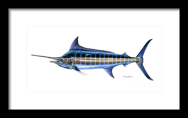 Blue Marlin Framed Print featuring the painting Blue Marlin 3 by Carey Chen