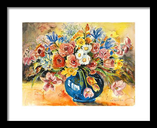 Still Life Framed Print featuring the painting Blue Vase by Alexandra Maria Ethlyn Cheshire