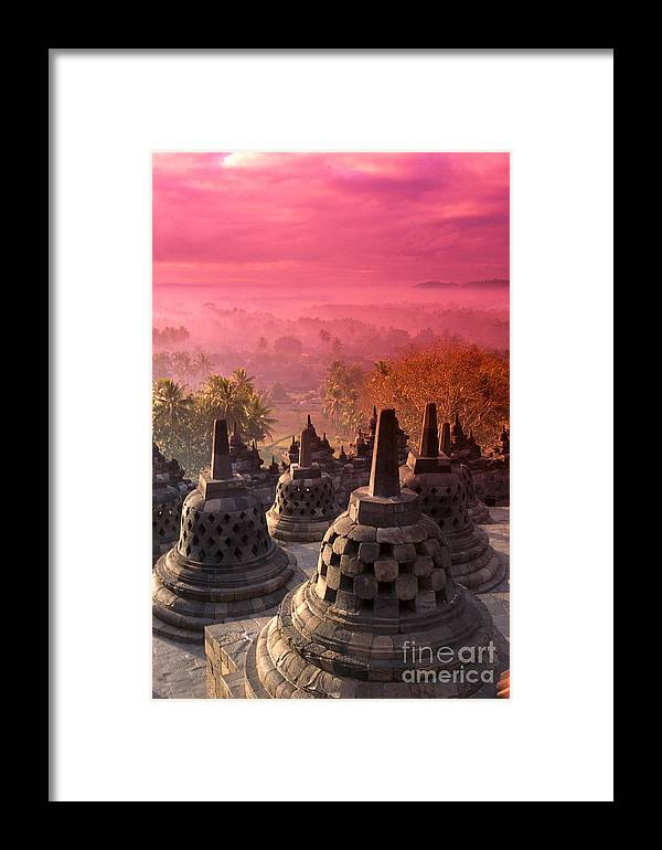 Ancient Framed Print featuring the photograph Borobudor Temple by Gloria & Richard Maschmeyer - Printscapes