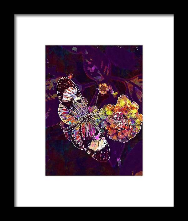 Butterfly Framed Print featuring the digital art Butterfly Macro Pose Plant Green by PixBreak Art