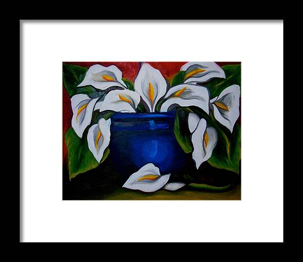 Calla Lilies In Blue Pot Framed Print featuring the painting Calla Lilies by Misty VanPool