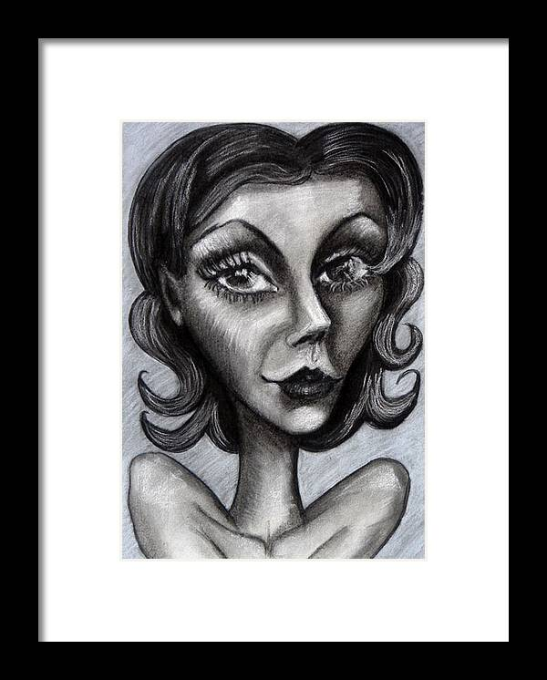 Portrait Framed Print featuring the drawing Caras Caritas Caretas by Jenni Walford