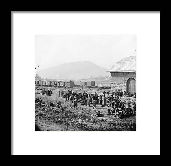 1864 Framed Print featuring the photograph Civil War: Prisoners, 1864 by Granger