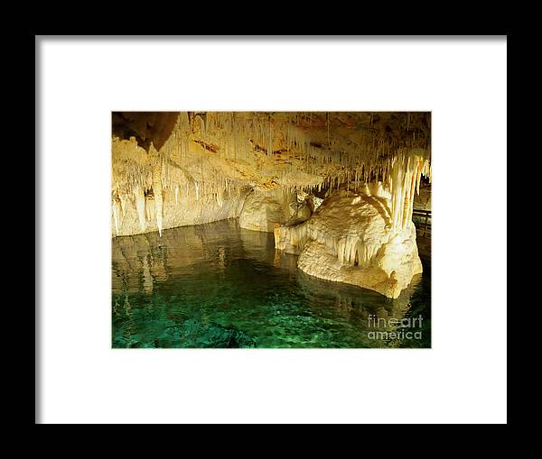 Crystal Cave Framed Print featuring the photograph Crystal Cave In Hamilton Parish Bermuda by Louise Heusinkveld