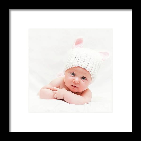 Portrait Framed Print featuring the photograph Cute Newborn Portrait by Gualtiero Boffi