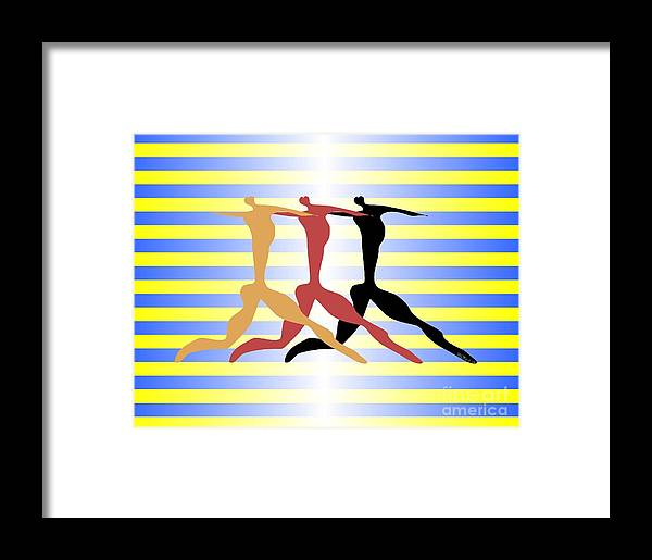 Dance Framed Print featuring the digital art 3 Dancers by Walter Oliver Neal