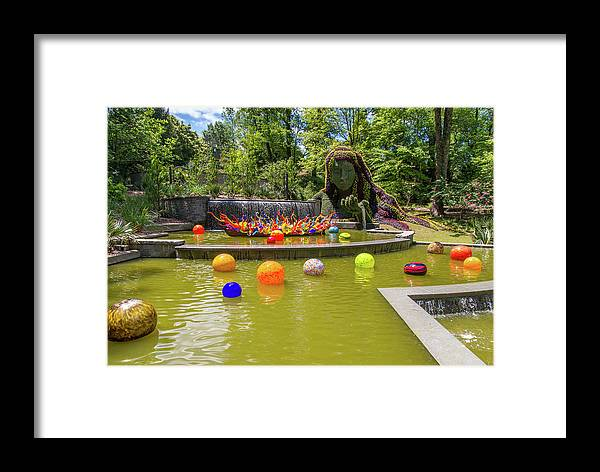 Atlanta Framed Print featuring the photograph Chihuly Exhibition In The Atlanta Botanical Garden. #01 by Irina Moskalev