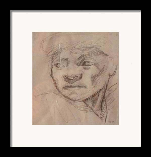 Portrait Framed Print featuring the drawing Face by Victor Amor