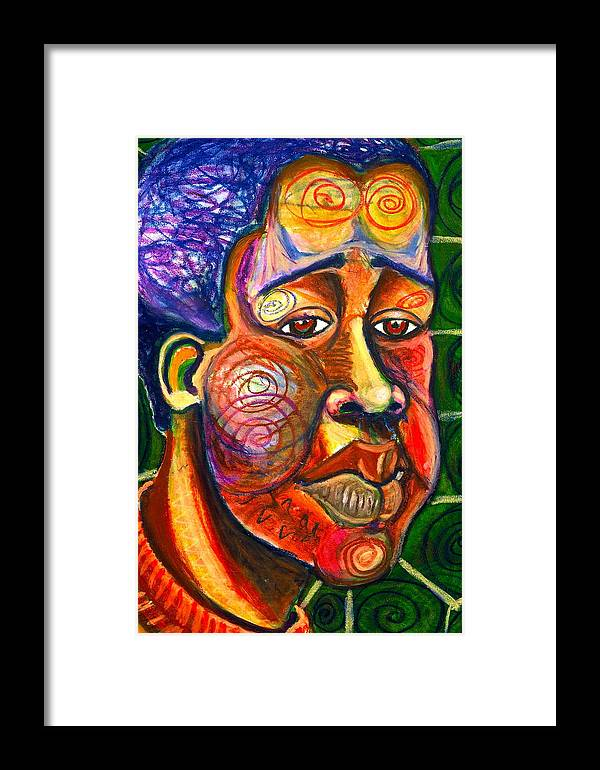Maliksart Framed Print featuring the painting Faces Unseen Series by Malik Seneferu