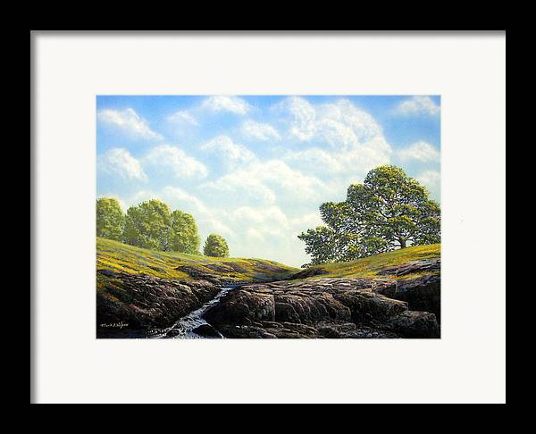 Landscape Framed Print featuring the painting Flowering Meadow by Frank Wilson