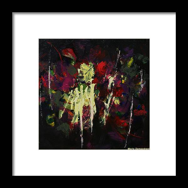 Abstract Flowers Framed Print featuring the painting Flowers by Mario Zampedroni
