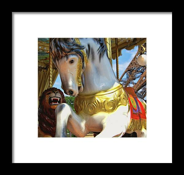 Carousel Framed Print featuring the photograph Flying Paris Horses by JAMART Photography