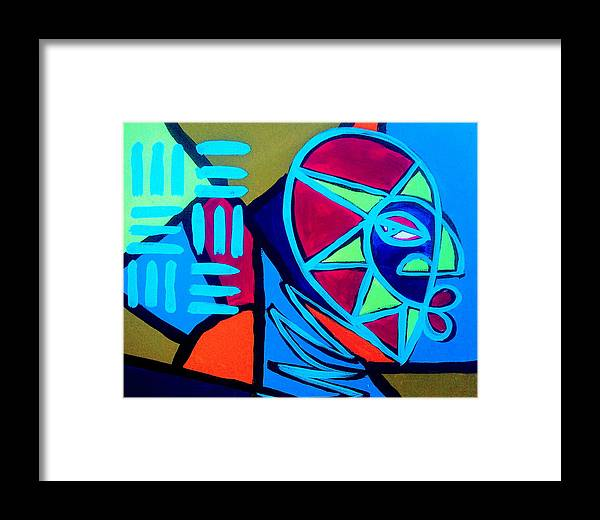 Absract Framed Print featuring the painting From The Hill And Beyond by Malik Seneferu