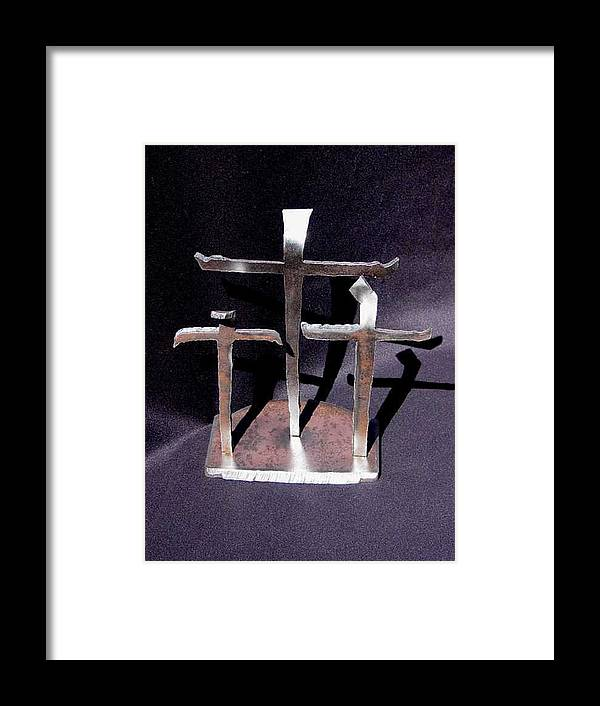 God Framed Print featuring the sculpture 3 Gifts Sold  by Steve Mudge