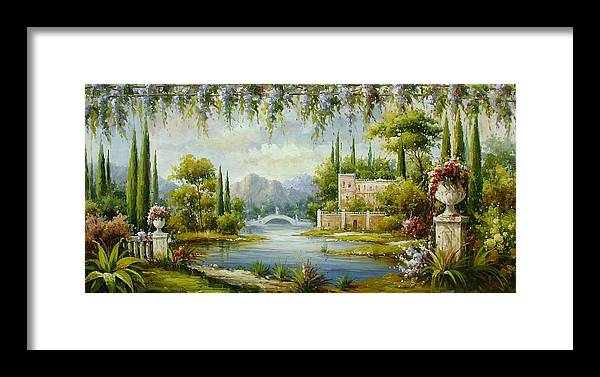 Castles Framed Print featuring the painting Italian Historical Villas by Lucio Campana