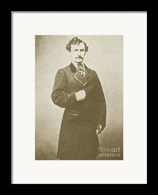 History Framed Print featuring the photograph John Wilkes Booth, American Assassin by Photo Researchers