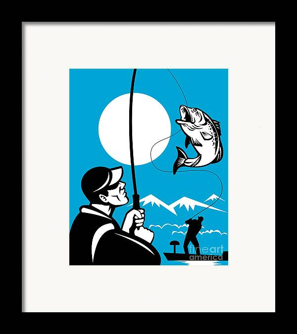 Largemouth Framed Print featuring the digital art Largemouth Bass Fish And Fly Fisherman by Aloysius Patrimonio