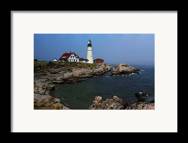 America Framed Print featuring the photograph Lighthouse - Portland Head Maine by Frank Romeo