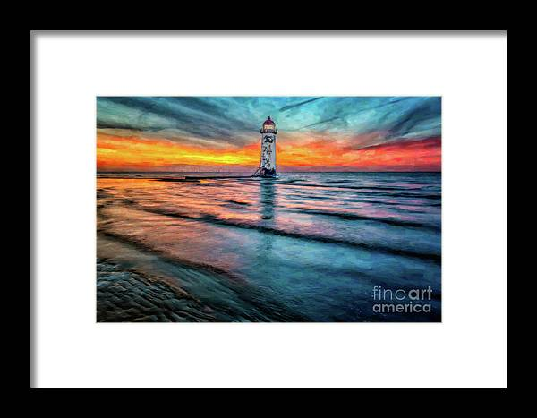 Sunset Framed Print featuring the photograph Light House Sunset by Adrian Evans