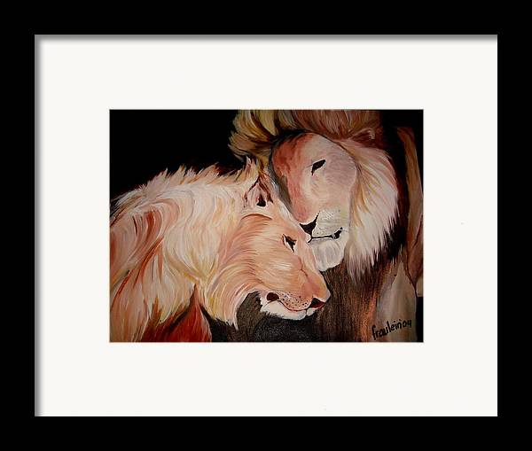 Lion Framed Print featuring the painting Lion's Love by Glory Fraulein Wolfe