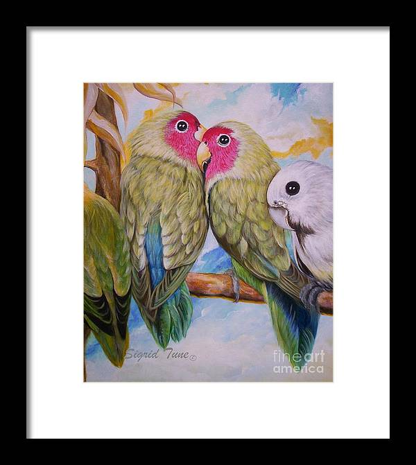 Lovebirds Framed Print featuring the painting Flygende Lammet  Productions       3 Love Birds Perched by Sigrid Tune