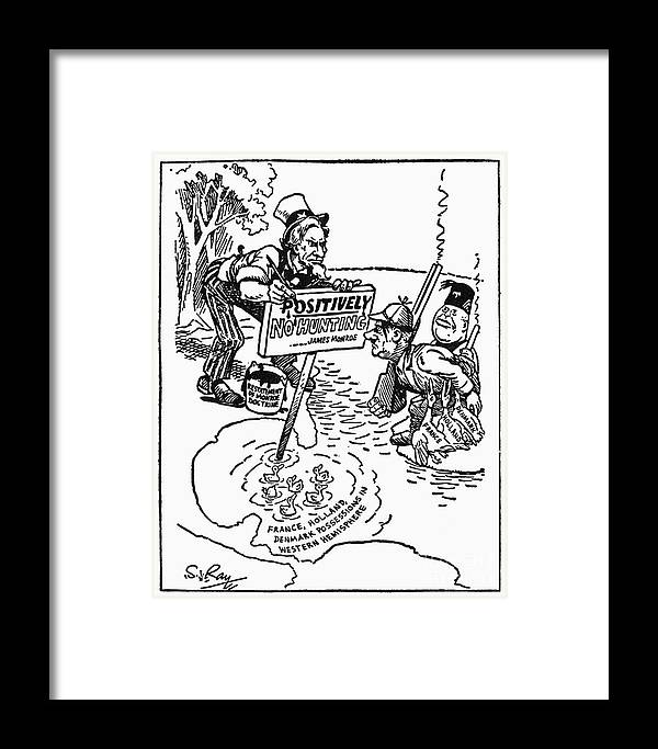 1940 Framed Print featuring the photograph Monroe Doctrine Cartoon by Granger