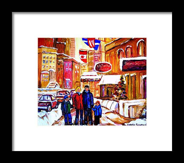 Montreal Framed Print featuring the painting Montreal Street In Winter by Carole Spandau