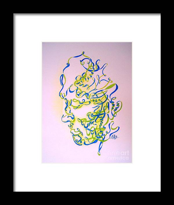 Head Framed Print featuring the drawing No Title by Marek Halko