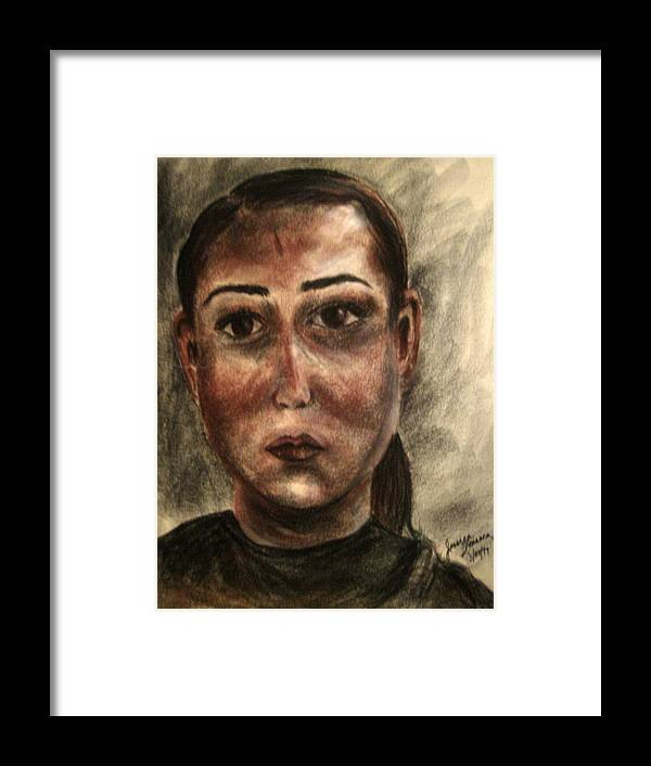 Faces Framed Print featuring the drawing None by Jessica De la Torre