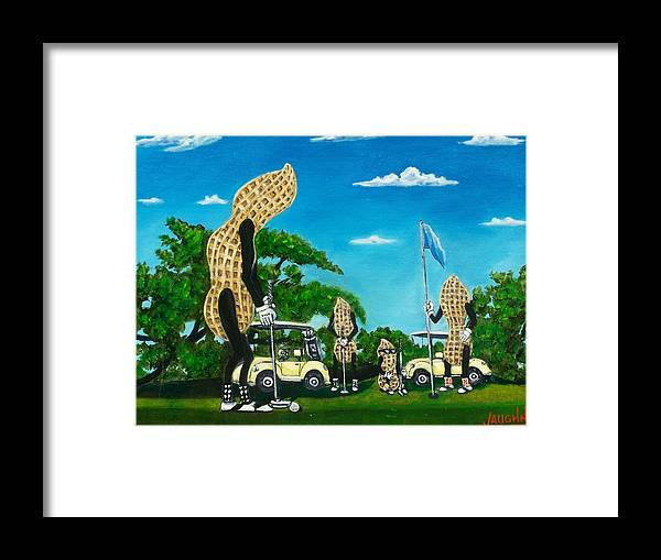 Landscape Framed Print featuring the painting Nutz Bout Golf by Charles Vaughn