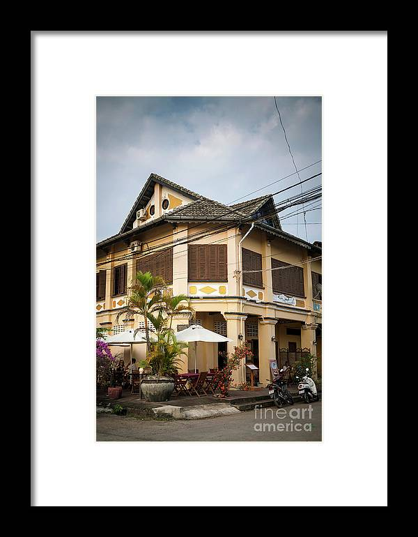 Architecture Framed Print featuring the photograph Old French Colonial Architecture In Kampot Town Street Cambodia by Jacek Malipan