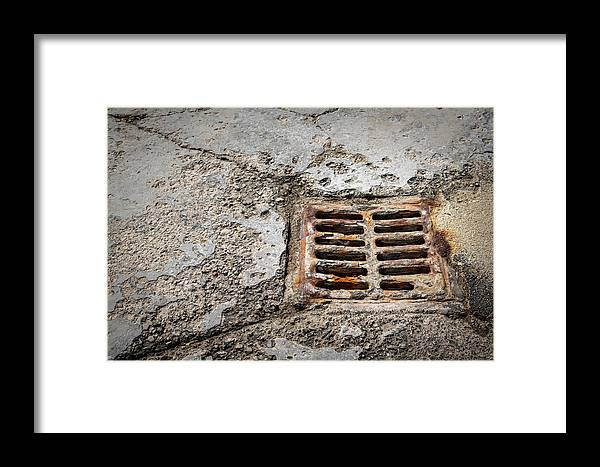 Background Framed Print featuring the photograph Old Rusty Street Grate Near The Sea In Cres by Stefan Rotter
