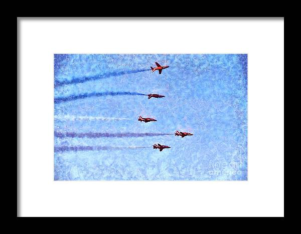 Fly Framed Print featuring the painting Painting Of Red Arrows Aerobatic Team by George Atsametakis