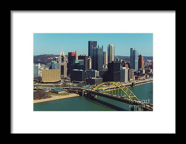 Cityscape Framed Print featuring the photograph Pittsburg Skyline by Maxwell Dziku