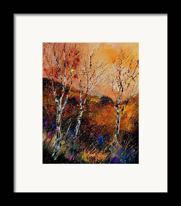 River Framed Print featuring the painting 3 Poplars by Pol Ledent