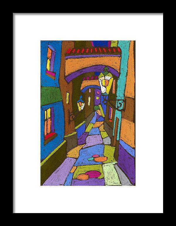 Pastel Framed Print featuring the painting Prague Old Street by Yuriy Shevchuk