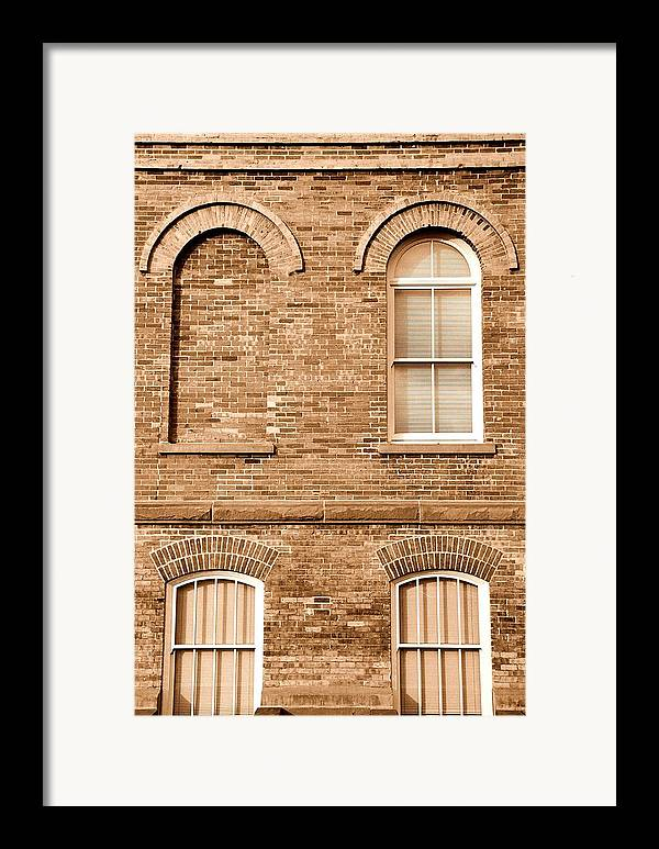 Architecture Framed Print featuring the photograph 3 Quarters Sepia by Caroline Clark