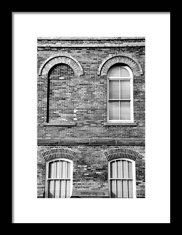 Architecture Framed Print featuring the photograph 3 Quaters Black And White by Caroline Clark