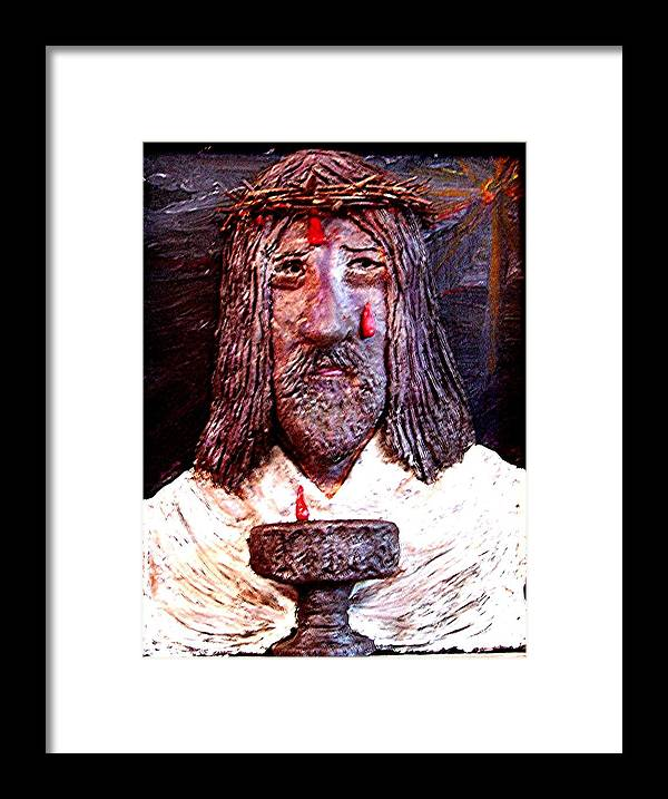 God Framed Print featuring the sculpture 3 Red Drops by Richard Hubal