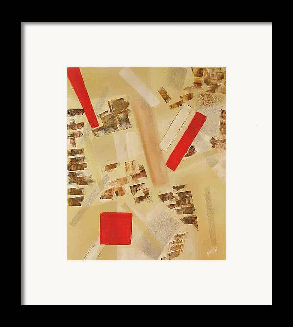 Abstract Framed Print featuring the painting 3 Red Objects by Evguenia Men