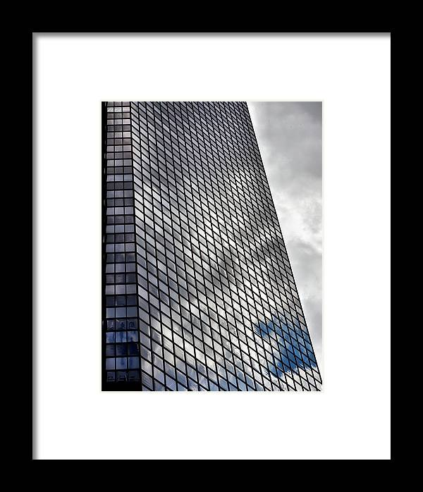 Reflected Clouds Framed Print featuring the photograph Reflective Glass And Metal Building by Robert Ullmann